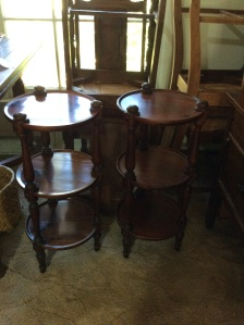 Ethan Allen round side tables.
