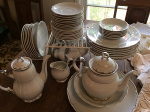 ...and platinum-rimmed china.