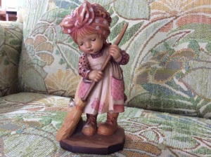 "ANRI Sarah Kay figurine. ""The Sweeper"". These are beautiful vintage wood carvings from Italy."