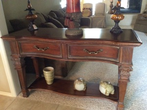 Matching sofa table with drawers. Gorgeous.