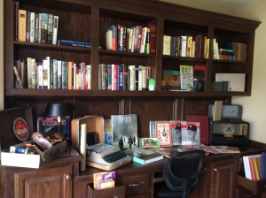 The office is full of quality books and vintage treasures!