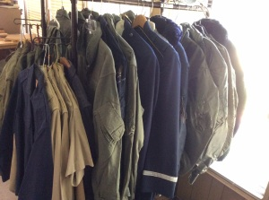 Flight jackets, camo jacket, fatigues, dress jackets, uniform shirts.